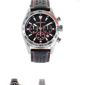 Drift men's chronograph watch black leather strap